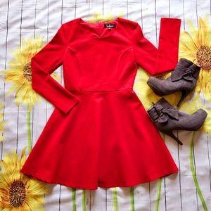 "Red ""Lulu's"" Long Sleeve Dress"